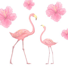 Pink watercolor flamingo character digital clip art cute two birds tropical summer set illusration Pink flowers on white background
