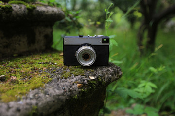Old film photo camera lies on the ancient steps covered with moss