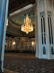 Chandelier of the Sultan Qaboos Grand Mosque in Muscat, Oman