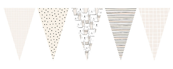 Cute Party Vector Flags With White Cats, Bunnies and Bears. Delicate Pastel Color Art. Gender Neutral Colors. Irregular Stripes, Grid and Polka Dots Design. Lovely Nursery Party Decoration.
