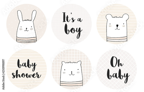 Lovely Candy Bar Baby Shower Vector Tags Set Beige Circle Shape