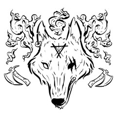 Black and white outline fairytale wolf head vector illustration with freedom symbol with smoke and axe elements