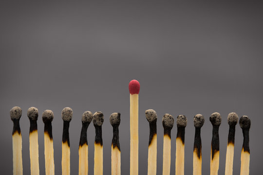 Group of burnt matches with one unused matchstick