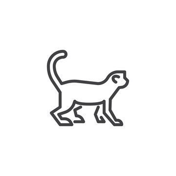 Monkey side view line icon. linear style sign for mobile concept and web design. Marmoset monkey outline vector icon. Wild animal symbol, logo illustration. Pixel perfect vector graphics