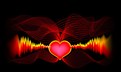 Electrocardiography grid for recording and studying the electric fields generated by the heart. Stylized wavelike impulses and waves on black background. Print for medical poster. Vector image.