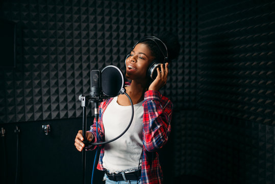 Female performer songs in audio recording studio