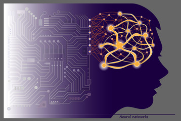 Women silhouette with neuron waves in brain for scientific research. Stylized artificial intellect communications. Poster for neural networks technologies. High tech digital technology. Vector image.