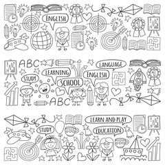Vector set of learning English language, children's drawingicons icons in doodle style. Painted, black monochrome, pictures on a piece of paper on white background.
