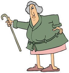 Angry old woman shaking her cane