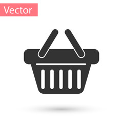 Grey Shopping basket icon isolated on white background. Vector Illustration