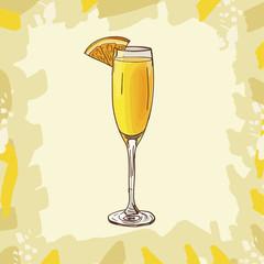 Mimosa cocktail illustration. Alcoholic classic bar drink hand drawn vector. Pop art