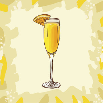 Mimosa cocktail illustration. Alcoholic classic bar drink hand drawn vector. Pop art