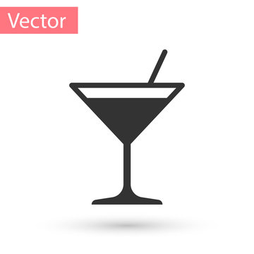 Grey Martini glass icon isolated on white background. Cocktail icon. Wine glass icon. Vector Illustration