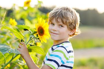 Portrait of beautiful little blond kid boy on summer sunflower field outdoors. Cute preschool child having fun on warm summer evening at sunset. Kids and nature