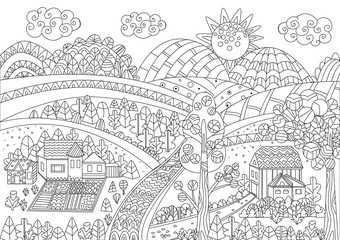 upland panorama with funny houses and fields for your coloring p