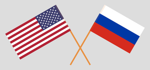 USA and Russia. The United States of America and Russian flags. Official colors. Correct proportion. Vector