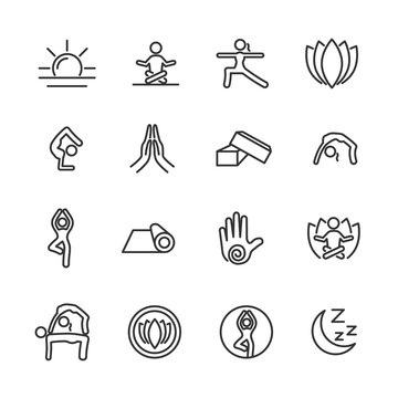 Vector set of yoga line icons.