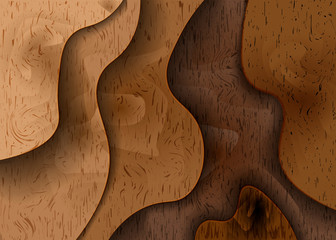 3D woodcut layers texture vector banner. Abstract wood cut art background design for website template.