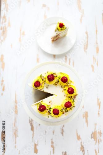 Beautiful Happy Birthday Cake With Mascarpone Decorated Raspberry Pistachio And Candles On The Stand Stockfotos Und Lizenzfreie Bilder Auf
