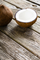 coconuts on natural old wood table background
