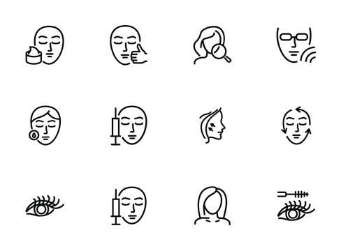 Cosmetology line icon set