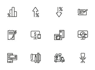 Online money line icon set