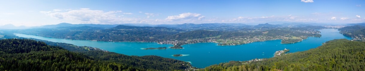 lake wörthersee, view from pyramidenkogel, carinthia austria