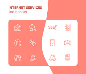 Internet services line icon set