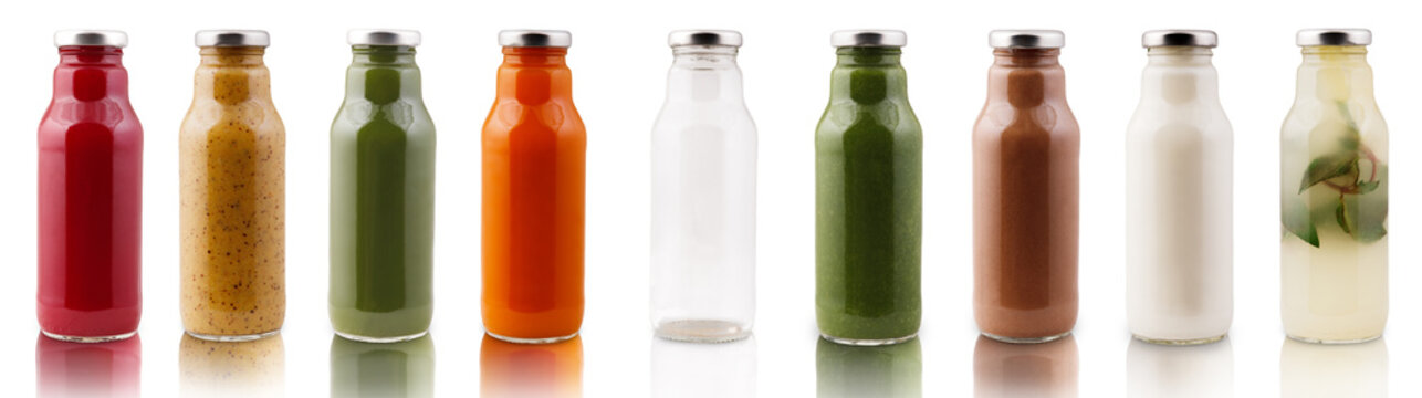 Assortment of detox smothies in bottles