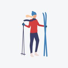 Skier flat icon