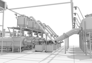 oil refinery, chemical production, waste processing plant, exterior visualization, 3D illustration