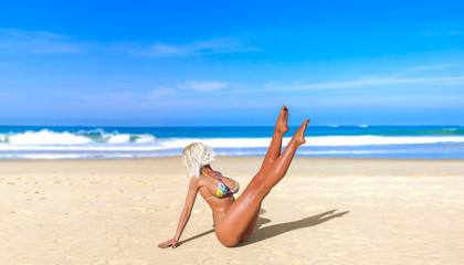 3D beautiful sun-tanned woman blue swimsuit bikini on sea beach.Dancing girl.Summer rest.Blue ocean background.Sunny day.Conceptual fashion art.Seductive candid pose.Realistic render illustration.