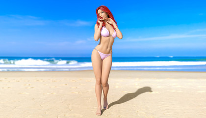 3D beautiful redhead woman white swimsuit bikini on sea beach. Summer rest. Blue ocean background. Sunny day. Conceptual fashion art. Seductive candid pose. Realistic render illustration.