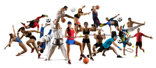 Fototapeta Huge multi sports collage taekwondo, tennis, soccer, basketball, etc obraz