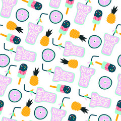 Vector illustration of ice cream, cocktails and fruits. Seamless pattern that can be used for wrapping, fabric, textile and interior decor. Summer theme background.