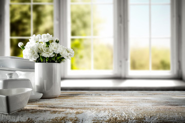 Fototapete - White wooden desk and window of spring time.