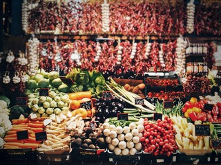Variety of vegetables on market stall in Budapest, Hungary