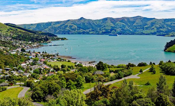 Overlook of scenic Akaroa on the Banks Peninsula, Canterbury, South Island, New Zealand