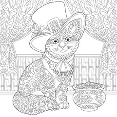 St. Patrick Day zentangle cat coloring page