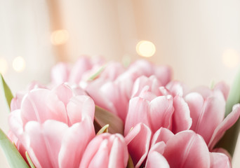 Composition made of pink flowers of tulips on bokeh background.
