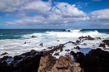 far view from waves at tenerife island
