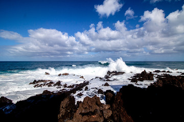 wide view from waves at tenerife island