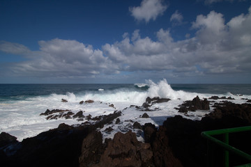 big view from waves at tenerife island
