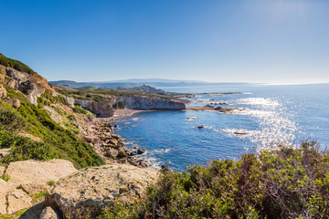 North West coastline between Bosa and Alghero, Sardinia island. Italy