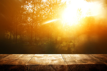 photo of front rustic wooden table and background forest