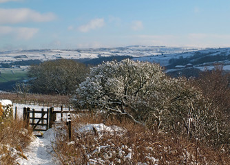 A panoramic winter scene with snow covered pennine hills and trees with a path and gate leading to fields on a bright sunlit day with blue sky in west yorkshire