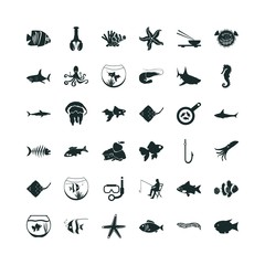 fish icon set. invertebrate icon and jellyfish icon vector icons.