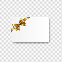 Gift Card Golden Bow Isolated Transparent Background