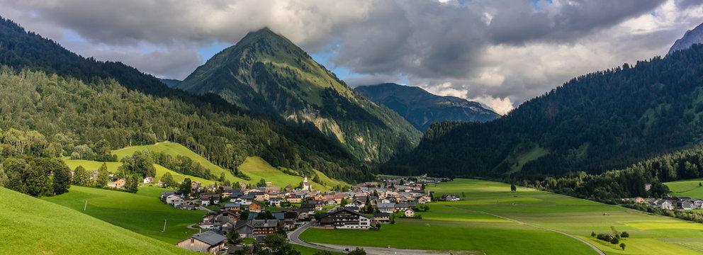 village of schoppernau, bregenzer wald, vorarlberg, austria