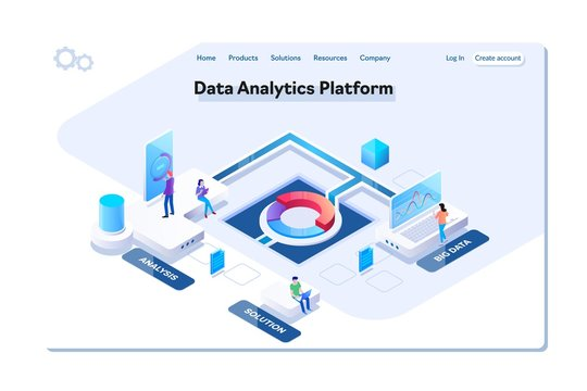 Data analytics platform isometric vector illustration.People interacting with charts and analyzing statistics. Data visualization concept.